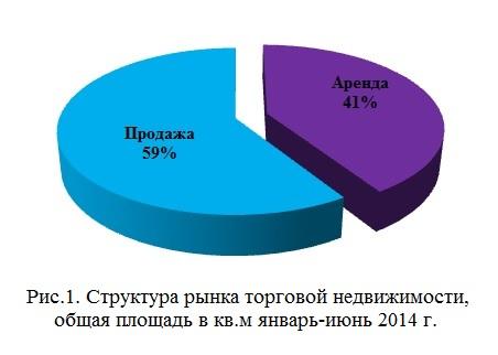 Структура рынка торговой недвижимости, общая площадь в кв.м январь-июнь 2014 г